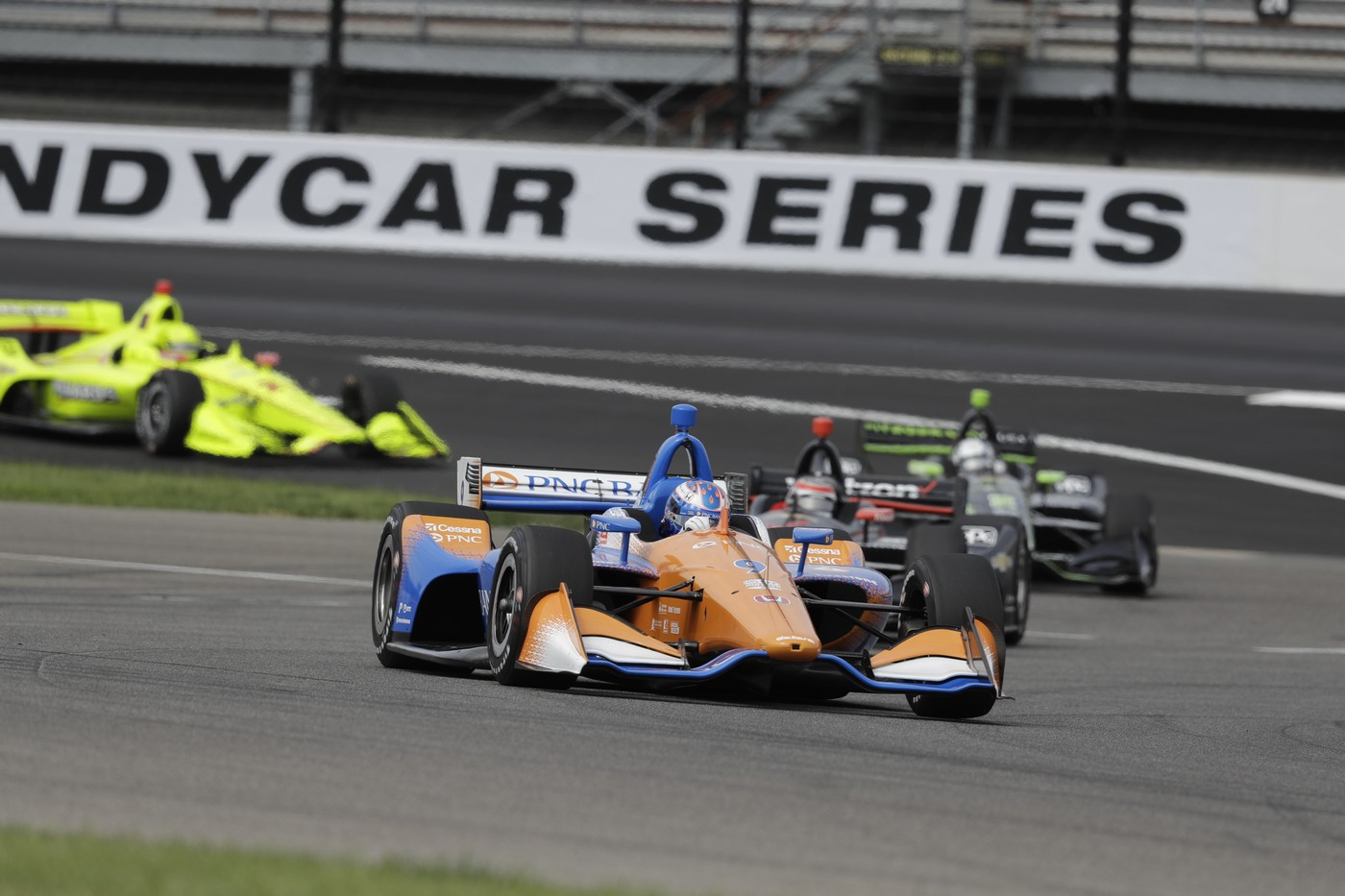 during the Indy GP IndyCar auto race at Indianapolis Motor Speedway, Saturday, May 11, 2019 in Indianapolis. (AP Photo/Darron Cummings)