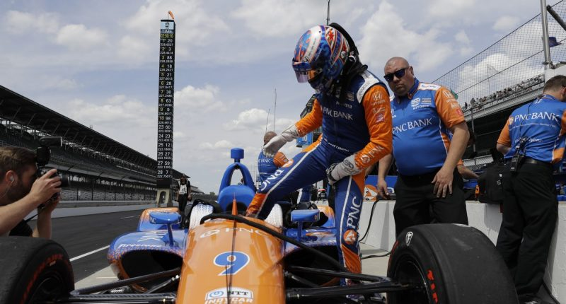 during practice for the Indianapolis 500 IndyCar auto race at Indianapolis Motor Speedway, Tuesday, May 14, 2019 in Indianapolis. (AP Photo/Darron Cummings)